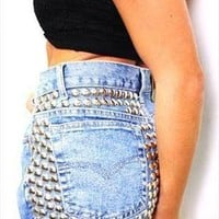 Vintage Levis Medium Blue CIRCLE STUD High Waisted Shorts from Boutique 73