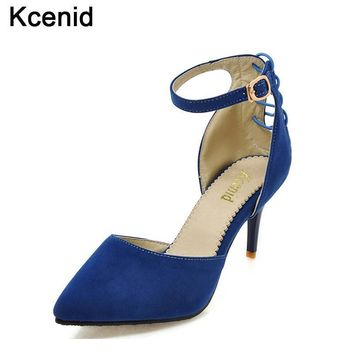 Kcenid Spring autumn new fashion pumps shoes for women high heels 7cm pointed toe cross-tied ankle strap lady single shoes