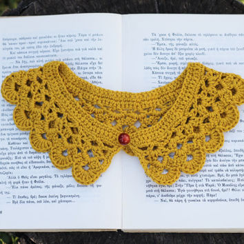 Mustard yellow crochet peter pan collar necklace - crochet neckpiece - women collar crochet
