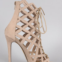 Liliana Suede Caged Intricate Laser-Cut Lace Up Heel