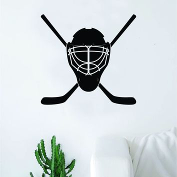 Hockey Goalie Mask Sticks Wall Decal Sticker Vinyl Art Bedroom Room Home Decor Quote Kids Teen Baby Boy Girl Nursery School Fitness Inspirational Ice Skate NHL