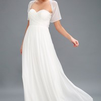 Classical Charm White Convertible Maxi Dress