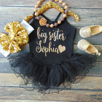 Gold Glitter Big Sister Personalized Leotard with Tutu - Spaghetti Strap One Piece Leotard Dress - Big Sister Pregnancy Announcement
