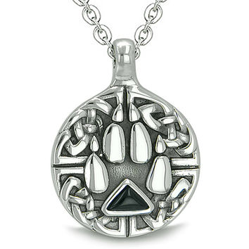 Celtic Shield Knot Wolf Paw Triangle Energy Simulated Black Onyx Crystal Pendant 22 Inch Necklace
