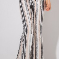 Going Long Grey Sequin Vertical Stripe Pattern High Waist Loose Flare Leg Pants - Sold Out