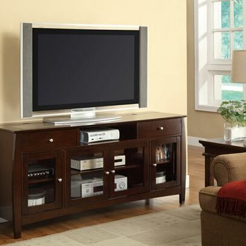 "Coaster 700693 Dark walnut finish wood 30"" h tv stand entertainment center with storage drawers and built in connect it drawer"
