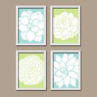 Aqua Blue Lime Green Dahlia Floral Flower Flourish Design Artwork Set of 4 Prints Organic Bloom Bathroom Bedroom Wall Decor Art Pictures