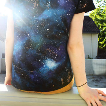 Galaxy T Shirt Handpainted Organic Size S by PrinceandTower