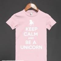 Keep Calm and Be a Unicorn (Junior) (Dark)-Light Pink T-Shirt