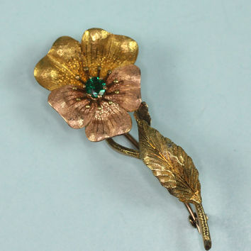 14K Floral Brooch Yellow Rose Gold Victorian Flower Brooch Faux Emerald Antique