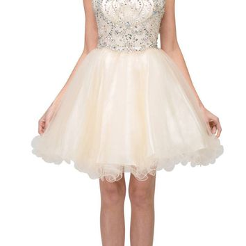 Bead Embellished Short Prom Dress Cut-Out Back Champagne