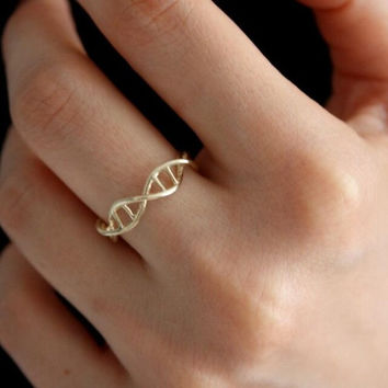 New Fashion DNA ring for Women Chemistry Molecule Women Ring Minimalist Ring R177
