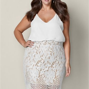 Lace Detail Dress in White Multi | VENUS