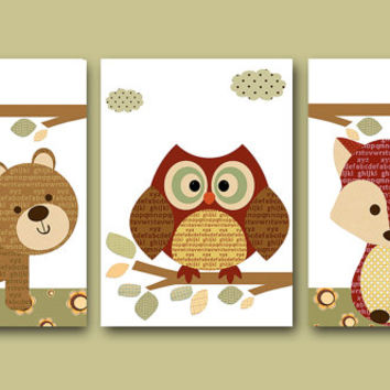 Childrens Room Kids Art Kids Wall Art Baby Boy Nursery Baby Boy Room Decor Baby Nursery Decor set of 3 8x10 Red Fox Nursery Owl Nursery