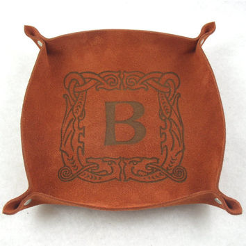 FATHERS DAY GIFT - Personalized Suede Leather Valet, Leather Tray, Leather Catchall, Change Holder with free Engraved Monogram or Design