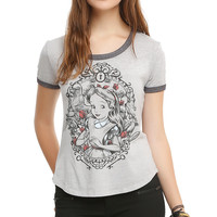 Disney Alice In Wonderland Frame Burnout Girls Ringer T-Shirt