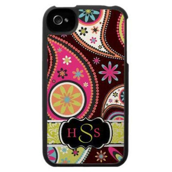 PixDezines Retro Paisley, DIY background+monogram Iphone 4 Case from Zazzle.com