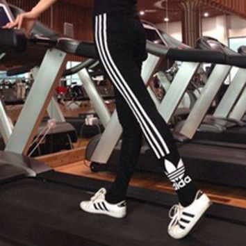 """Adidas"" Women Clover Letter Print Stripe Casual Long Pants Tight Sweatpants Yoga Pants"