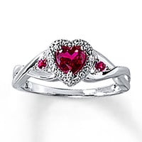Heart Ring Lab-Created Ruby Sterling Silver