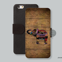 Leather Wallet iPhone 6 case tribal elephant iPhone 6 plus case, Card slot Wallet iPhone 5s case iPhone 5c case - C00046