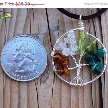 ON SALE Tree of Life Jewelry - Four Seasons - Baltic Amber, Quartz, Peridot, Malachite - Made to Order - Wire Wrapped Tree - Silver Plated