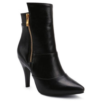 Black Zippered High Heel Ankle Boots With Pointed Toe