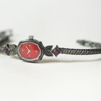 Black red women's watch, rare design watch Seagull, ornamented women's watch, posh bracelet watch, unique lady watch mint condition watch
