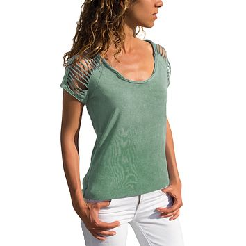 Green Ripped Hollow Out Shoulder Tie Dye T-Shirt Top