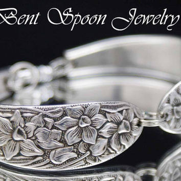 Spoon Bracelet - Vintage Silverware Jewelry - Silverware Bracelet - Upcycled Spoon Jewelry - NARCISSUS 1935