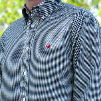 Mackenzie Houndstooth Dress Shirt in Black with Red Duck by Southern Marsh