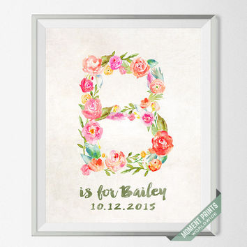 Custom Name, Personalized, Print, Bailey, Nursery Art, Baby Shower, Baby Room, Brittany, Beth, Brooke, Becky, Blair, Gift, B, Girl [NO 106]