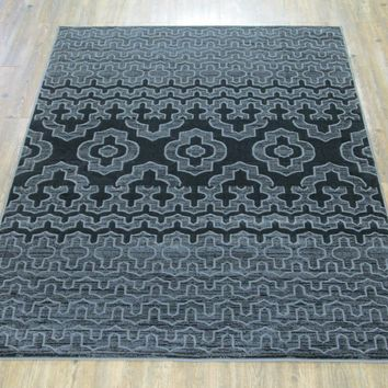 """Silver Grey Black Large Industrial Faux Wool Area Rug Exact Size 5'4"""" X 7'5"""""""