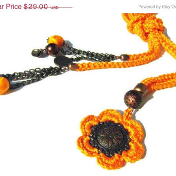 Cotton necklace. Crochet necklace. OOAK..Orange cotton yarn Crochet cord and copper flower pendant  and bracelet. Gift, christmas, unique.
