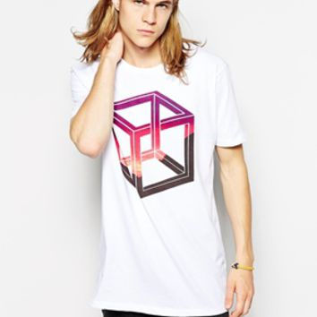 ASOS Longline T-Shirt With Impossible Shape Print And Skater Fit - Whi