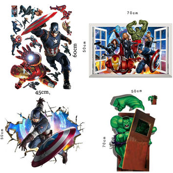Avengers Superheroes Wall Stickers for Kids Room Decoration 3D Through Wall Paper Captain America Hulk Ironman Posters Decals