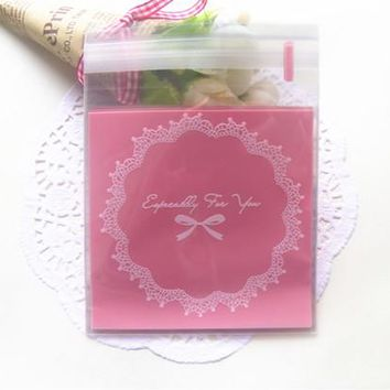 7x7cm Bopp Adhesive Seal Bags With Pink Blue Bow Printing For Gift Accessories Small stuffs Storage Biscuit Cake Candy Bag