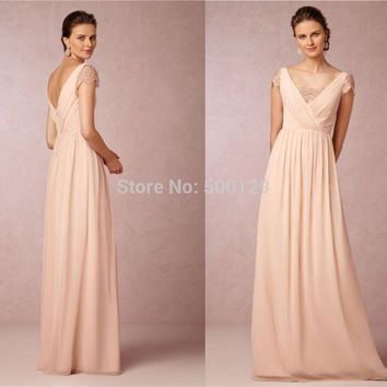 vestido de madrinha 2016 New V Neck Lace Pleated Party Dress A Line Long Formal Chiffon Modest Bridesmaid Dresses With Sleeves