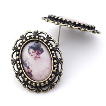 Vintage Cameo Antiqued Brass stud earrings-Lady / Rose