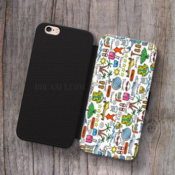 Wallet Leather Case for iPhone 4s 5s 5C SE 6S Plus Case, Samsung S3 S4 S5 S6 S7 Edge Note 3 4 5 Palm Tree Palmtree Pattern Cases