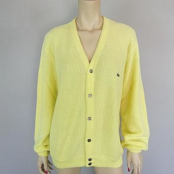 Vintage 1970s Izod Lacoste Lemon Yellow Cardigan Sweater 70s Golf Tennis Preppy Boyfri