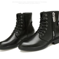 Rubber Soles Genuine Leather Men Military Ankle Boots,Nature Wool Winter Snow Army Boots Man