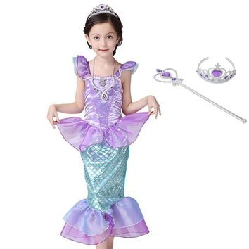 Girls Ariel Dress up Princess Cosplay Costume Little Mermaid Dress Kids Petal Sleeve Gown Halloween Party Fantasy Cute Clothes