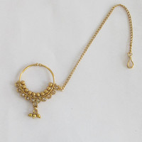 Gold Antique Nose Ring Chain Hoop/ Indian Bridal Nose Nath Hoop/Non Pierced Delicate Nose Ring/Fake Nose Hoop/Bollywood Septum Helix Hoop