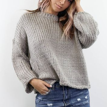 Rooftop Nights Light Gray Oversized Chunky Sweater