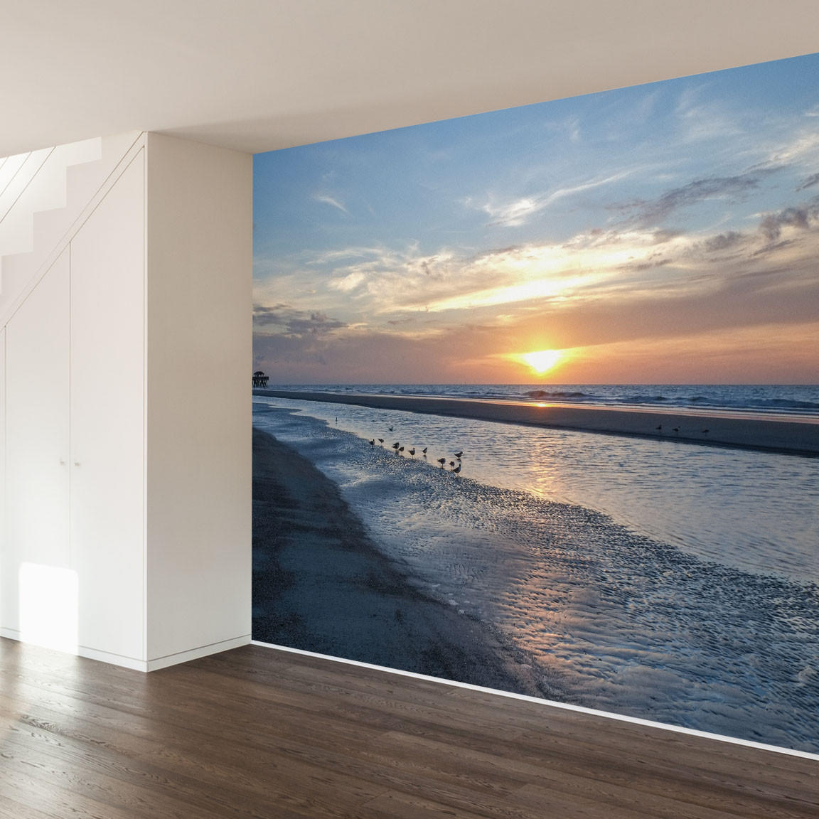 Paul moore 39 s sunset seagull beach mural from walls need love for Beach mural for wall