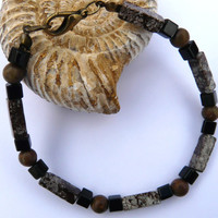 "Mens Gemstone Bracelet Brown Snowflake Obsidian Onyx Jasper. ""Free Worldwide Shipping"""