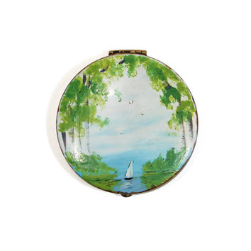 Hand painted Vintage Compact, Sailboat, Birch Trees, French, Trinket Box, Treasure Keeper