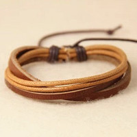 Leather and Cotton Ropes Woven Men Leather Jewelry Bangle Cuff Bracelet Women Leather Bracelet T085