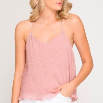 Women's Textured Cami Top with Criss-Cross Open Back