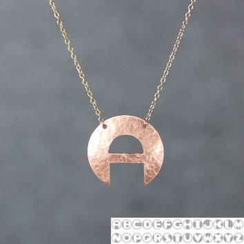Personalized 14k rose gold filled modern intial monogram charm necklace copper Bridesmaids gifts Free US Shipping handmade Anni Designs
